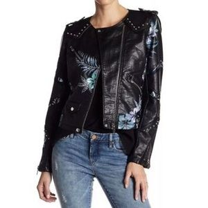 Blank NYC painted floral leather jacket